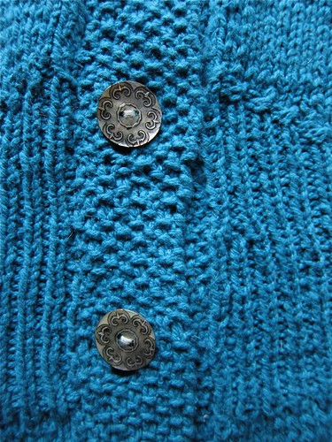 Teal Flutter-Sleeve Cardigan Button Band Detail