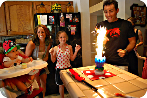 Camryn's Dad lighting her birthday candle