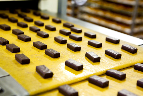 Close up of the cooled chocolates
