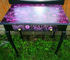 vanityba (Rick Cheadle Art and Designs) Tags: red abstract black flower art floral furniture painted funky handpainted tables decor paisley acrylics rickcheadle anniesloanchalkpaint shabbyfrench