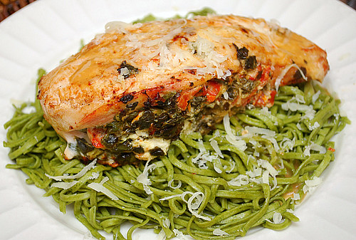 Sun Dried Tomato, Spinach & Goat Cheese Stuffed Chicken