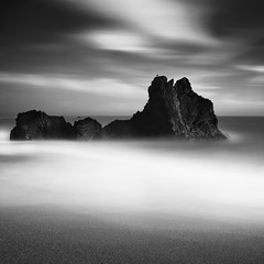 The Shape Of What Was To Come... (maxxsmart) Tags: longexposure sky blackandwhite bw water birds june clouds contrast canon spring sand rocks pacificocean lee sonomacounty 2010 sonomacoast gnd ef2470f28lusm bwnd110 5dmarkii lee9ndgrad