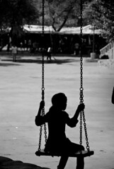 (Digvijay Sharma) Tags: blackandwhite india white black girl silhouette kids contrast high nikon candid highcontrast swing photowalk rockgarden chandigarh childen cfc