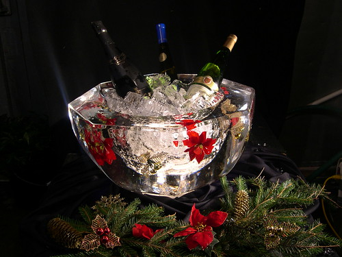 Holiday Ice bowl ice sculpture