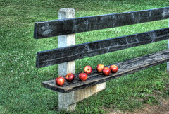 Seven apples sitting on a bench