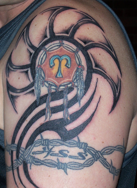 Tribal zodiac tattoo. Tatto by Ian Heyde of Dalmeny NSW