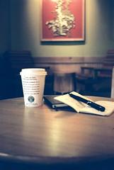 'Me' time (kenzodiazepine) Tags: moleskine coffee 35mm cafe lomo safari starbucks 8m smena smena8m lamy