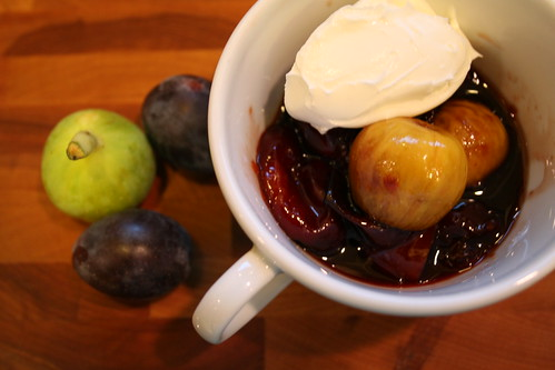 poached kadota figs and prune plums with mascarpone