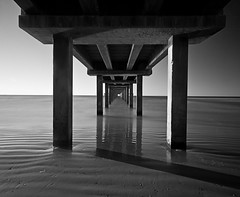 Under the Pier (RondaKimbrow) Tags: longexposure blackandwhite bw beach pier texas portaransas nd110 bwnd110 nuetraldensity horacecaldwellpier pullfolio