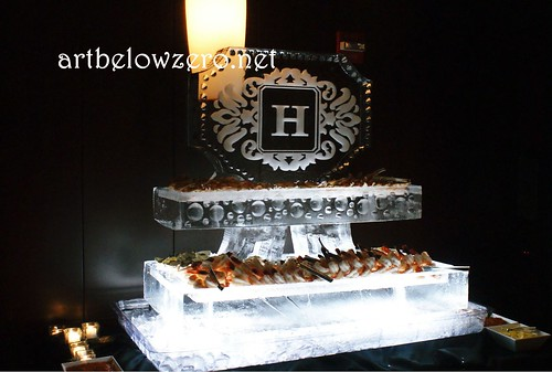 Seafood Station w Monogram H ice sculpture