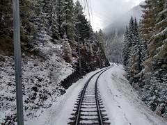 rails in de sneeuw