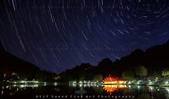 Stars on Ground , Lines on Sky (M Atif Saeed) Tags: pakistan mountain lake mountains nature water landscape nightshot areas northern northernareas startrails shangrilla skardu kacura atifsaeed gettyimagespakistanq1
