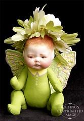 Greta the Flower Baby, Original One-of-a-kind Folk Art Fairy Doll by Elizabeth Ruffing
