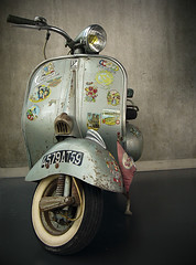 Dolce Vita (Stox - Ideas Playground) Tags: old portrait urban italy rome classic colors yellow proud museum sepia vintage movie fun nice intense italian alone vespa character stickers gray creative machine rusty style scooter fresh ladolcevita collection translation attitude transportation playfull lovely emotional cinematography tones mecanique collector witty 1953 sentimental 1960 elegance marvellous classique fier effective acma stox whatelse fredericofellini mythe thesweetlife uncluttered vertdegris mythique fieret