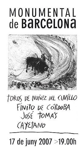 Cartel de la corrida del regreso de José Tomás (de Miquel Barceló)