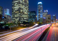 river of lights, towers of steel (gsgeorge) Tags: california longexposure blue urban cars skyline night river losangeles downtown freeway expressway citycenter citycentre losangelesskyline harborfreeway downtownlosangeles riveroflight pasadenafreeway newtopography newtopographics diamondclassphotographer flickrdiamond newtopographic