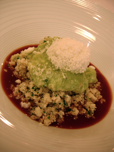 cauliflower couscous with tarragon mousse and frozen parmesan in osso buco sauce
