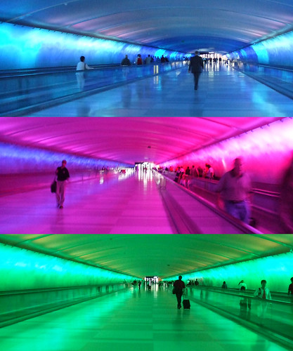 colored tunnel in Detroit airport