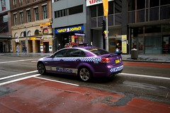 purple police (yewenyi) Tags: city car rainyday purple sydney police australia nsw summit newsouthwales cbd aus syd 000 apec centralbusinessdistrict pc2000 oceania buslane polce auspctagged crazyjohns