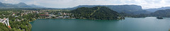 Bled Lake viewed from the castle (Shelley & Dave) Tags: lake church water island slovenia bled panaramic glaciallake pletna pilgrimagechurchoftheassumptionofmary