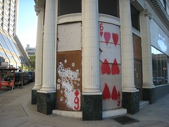 House of Cards (Lynn Friedman) Tags: sanfrancisco columbus art corner painting washington mural chinatown gallery grafitti columns card northbeach playingcard columbusave sixes redhearts lynnfriedman sixofhearts friedmanlynn colombobuilding chrisfarris thespacebetweengallery 1columbusave wwwspacebetweeninfo