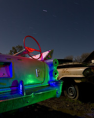 Guidance is External (Lost America) Tags: lightpainting night fullmoon 1957 dodge junkyard fin steeringwheel startrails d500 nocturnes thebigm