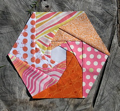 November Hexagon Block for Lynne (Cut To Pieces) Tags: pink orange white quilting fractal swirl hexagons patchwork paperpiecing busybees handsewing