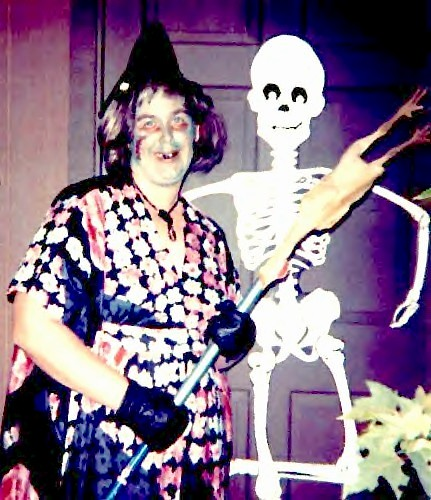 Halloween ~ Me as a Hillbilly Witch with a Rubber Chicken on my Broom