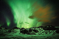 Over the hill (LalliSig) Tags: winter sky mountain snow cold green night dark stars landscape iceland frost nightscape highcontrast ground aurora mystical borealis