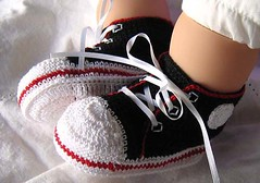 All Star Booties - Black/Red (WendysKnitch) Tags: baby thread girl children shoes crochet cotton custom booties babyshower weetoesandnoggins