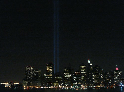 Skyline with memorial lights