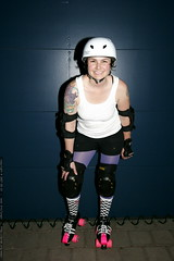 Does She Look Ready? Roller Derby Tryouts in 21 hours - _MG_4149 (sean dreilinger) Tags: woman cute smiling oregon athletic helmet rolle