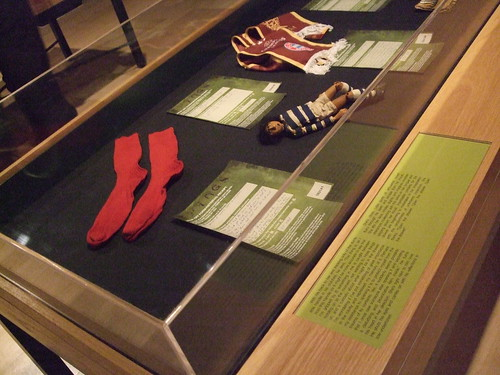 Our special socks in the Things exhibition, Wellcome Collection