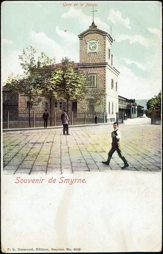 Karpostallarda yangından önce İzmir, İstasyon