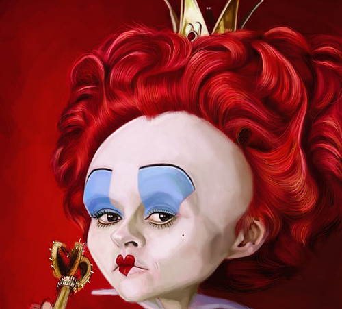 digital caricature of Helena Bonham Carter as The Red Queen - 3