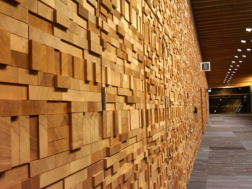 The pretty wooden walls of the Vancouver Convention Center: