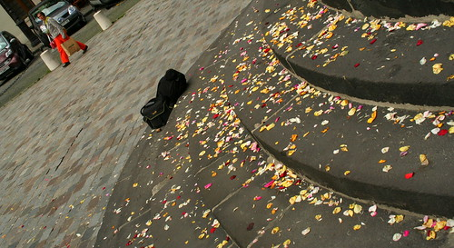 flowers on the steps, after the wedding