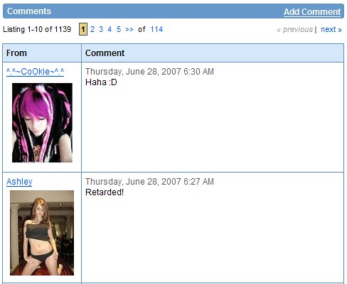 MySpace: Comments