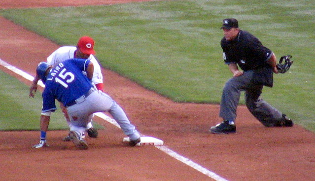 Gerald Laird safe at third base after a triple.
