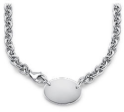 "17"" Engraveable Oval Plate Rolo Necklace"