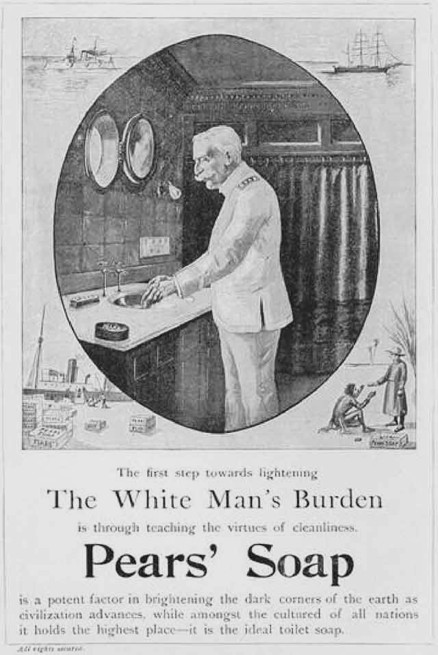 Advertisement for Pears' Soap entitled Lightening the White Man's Burden (McClure's Magazine, Oct. 1899)