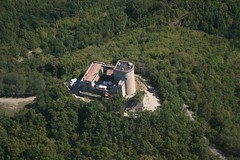 Oramala castle (_ Night Flier _) Tags: above travel wedding sky italy panorama tree green castle nature forest airplane landscape flying high view earth top aviation aerial fromabove historic fortification fortress lombardia cessna skyview lombardy pavia birdeye aeronautic voghera varzi oramala oltreppavese splendidoltrep