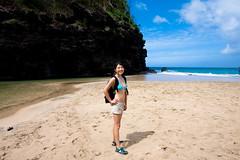 Hiking Respite by shaunandjenny - Relaxing on a beach bar at Hanakapi'ai beach 2 miles into the Kalalau trail on the Napali Coast in Kauai