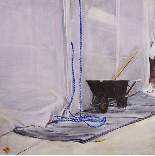 Blue Rope and Wheelbarrow, Acrylic on Canvas, 31cm x 31cm by Robin Clare