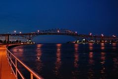 Blue Water Bridge at night. (ninker1) Tags: bridge blue water port michigan huron cramer