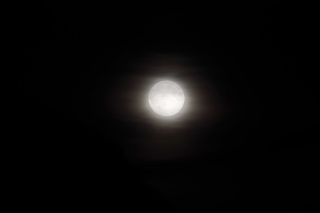 Pleine lune dans la brume