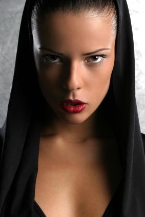 Black hood portrait