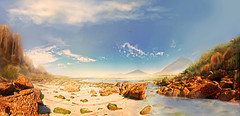 matte calzoa (Carlos Castro Prez) Tags: world sky panorama art clouds photoshop painting sand nikon rocks atlantic matte conceptart mattepainting bech areyouready ccp85