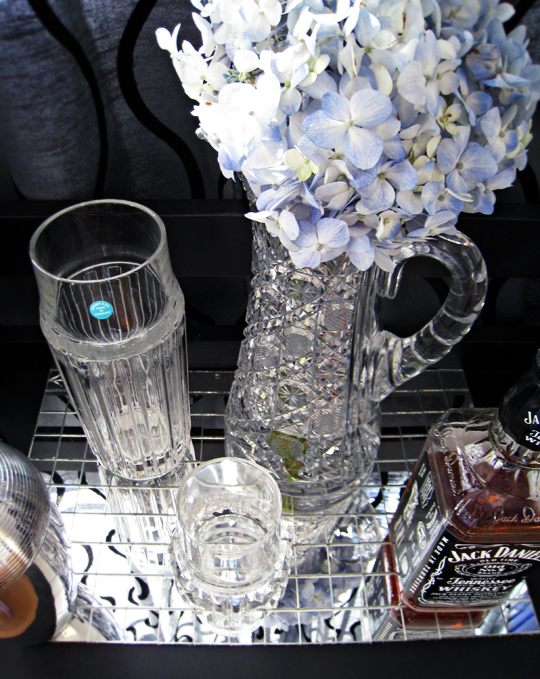 tiffanys crystal decanter+vintage crystal pitcher+hydrangeas+jack daniels+mini home bar+diy bar