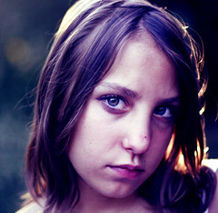 (parade in the sky) Tags: portrait girl intense afternoon serious sister photoshopped young processing stare isabel backlit gaze preteen